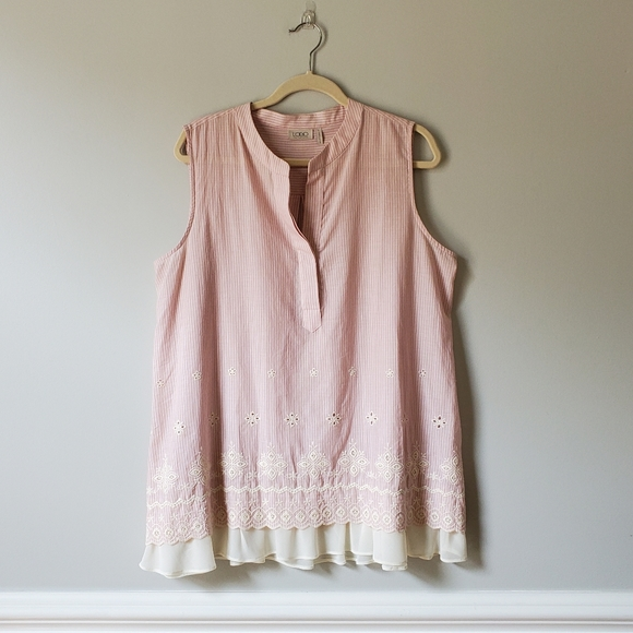 LOGO | Pink & White Striped Embroidered Tunic Top
